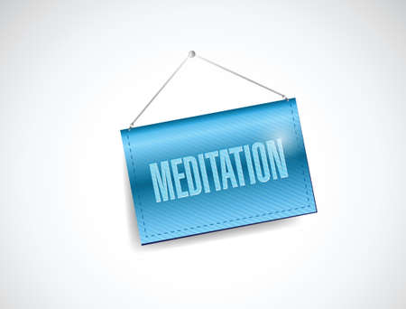meditation hanging banner illustration design over a white background