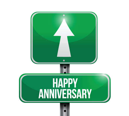 happy anniversary street sign illustration design over a white background