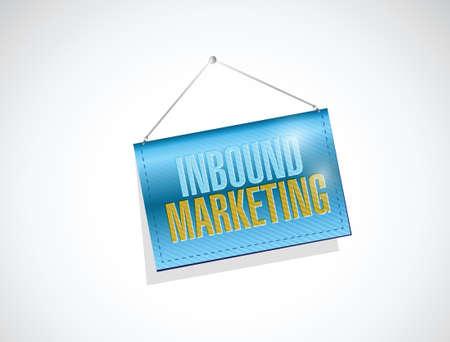 inbound marketing hanging sign illustration design over a white background