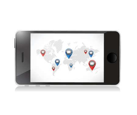 phone world email communication illustration design over a white background