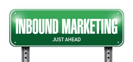 inbound marketing street sign illustration design over a white background