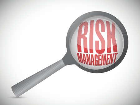 risk management magnify illustration design over a white background