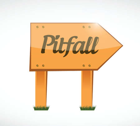 pitfall: pitfall wood sign illustration design over a white background