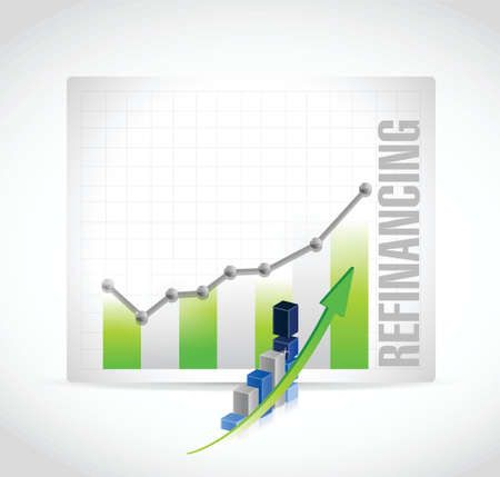 refinancing interest rates: refinancing business graph illustration design over a white background Illustration