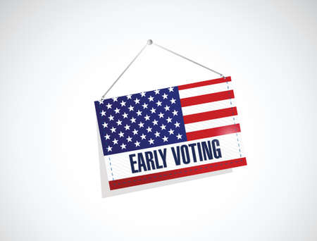 voting: early voting us flag banner illustration design over a white background