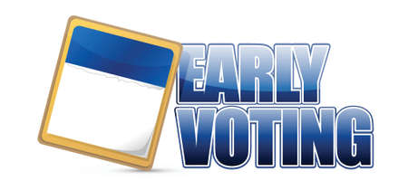 early voting sign and calendar illustration design over a white background