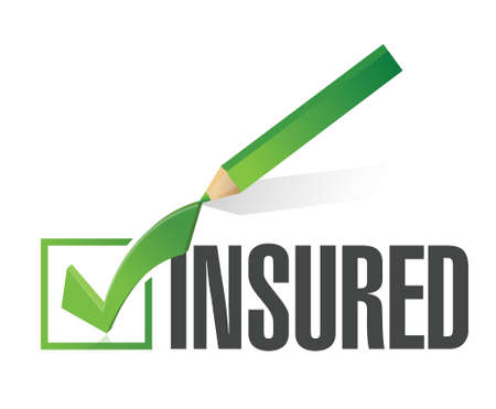 insured: insured check list and pencil illustration design over a white background