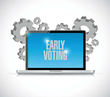 early voting computer sign illustration design over a white background
