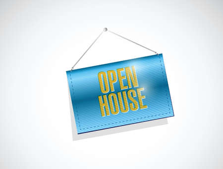 open house: open house hanging banner sign illustration design over a white background