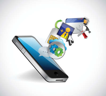 holding smart phone: phone and app icons illustration design over a white background