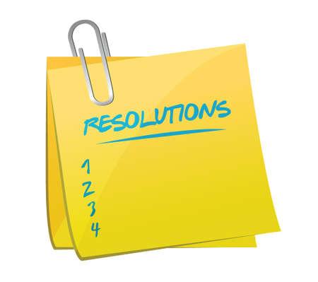resolutions: resolutions list memo post illustration design over a white background Illustration