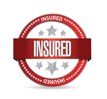 tickbox: insured red seal illustration design over a white background