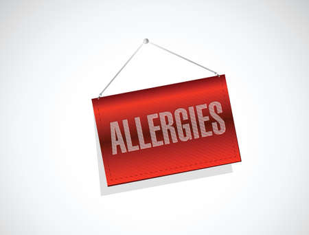 triangular eyes: allergies hanging sign illustration design over a white background