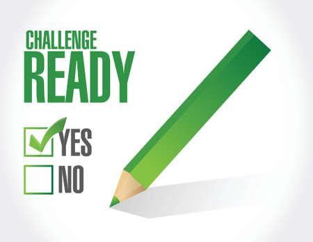 initiate: challenge ready check mark illustration design over a white background Illustration