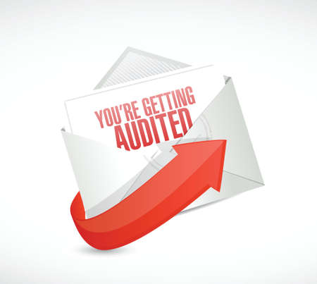 you are getting audited mail illustration design over a white background Illustration