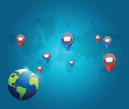 transnational: globe media communication network illustration design over a blue background