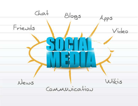social media model diagram illustration design over a white background