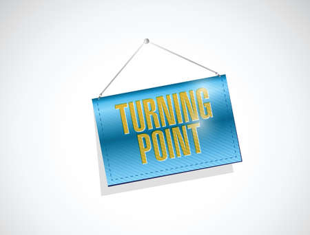 crucial: turning point hanging banner sign illustration design over a white background