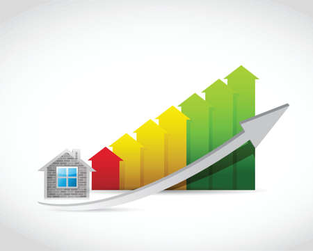 arrow home: home arrow up graph illustration design over a white background Illustration