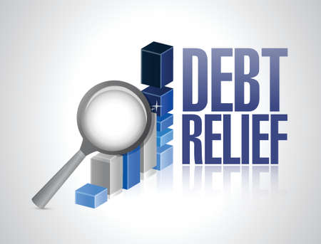 brighter: debt relief business graph magnify review illustration design over a white background