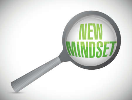 new mindset review under a magnify glass illustration design over a white background