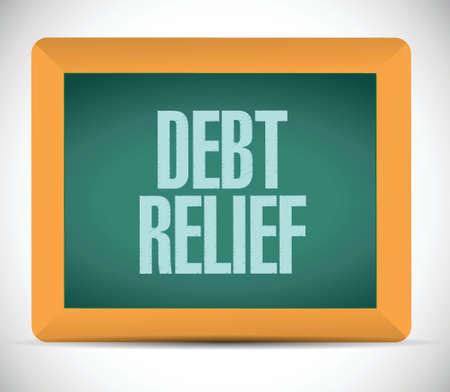 brighter: debt relief board sign illustration design over a white background