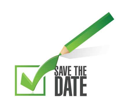 kalender: sparen sie das datum Häkchen Bleistift, Illustration, Design über einem weißen Hintergrund Illustration