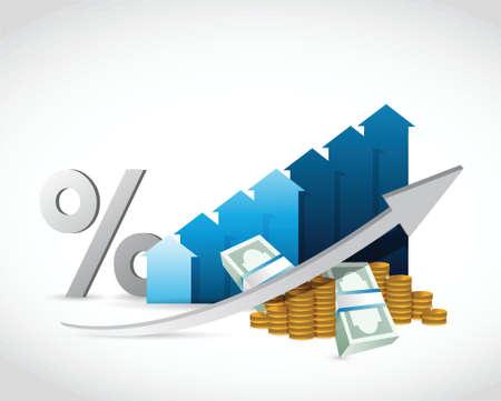 percentages: profit percentages business graph illustration design over a white background