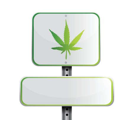 marijuana road sign illustration design over a white background 矢量图像