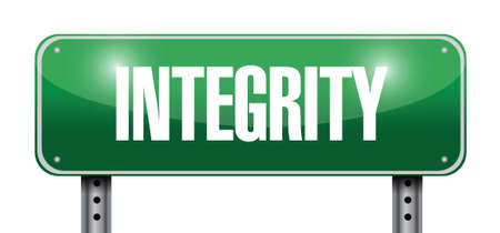 integrity street sign illustration design over a white background