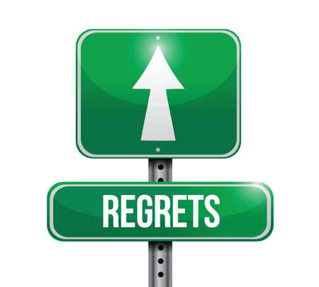 miserable: regrets street sign illustration design over a white background Illustration