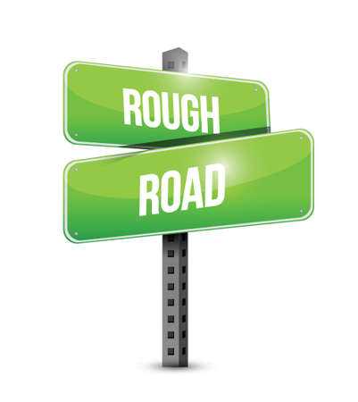 encounter: rough road street sign illustration design over a white background
