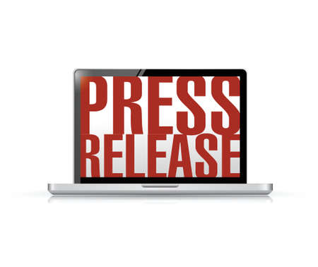 press release laptop message illustration design over a white background