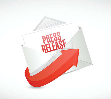 press release email envelope message illustration design over a white background