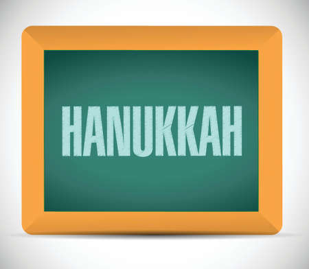 hanukka: hanukkah board sign message illustration design over a white background