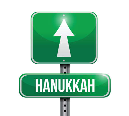 hanukkah street sign illustration design over a white background 向量圖像