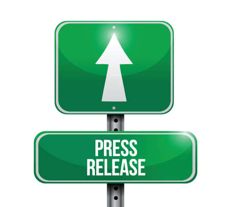 actuality: press release road sign illustration design over a white background