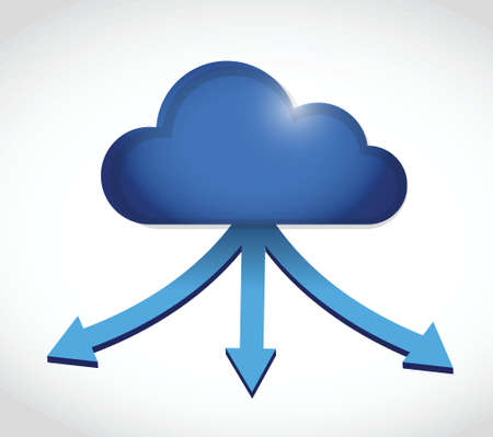 cloud computing storage destinations. illustration design over a white background
