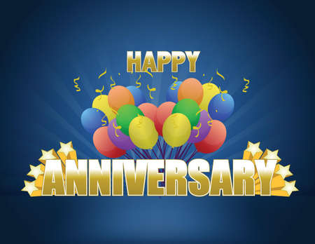 anniversary sale: happy anniversary card and balloons illustration design over a white background Illustration