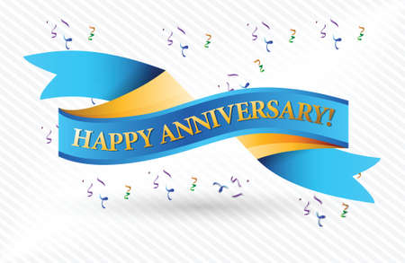 happy anniversary blue ribbon illustration design over a white background