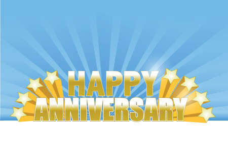 happy anniversary stars card. illustration design over a blue background