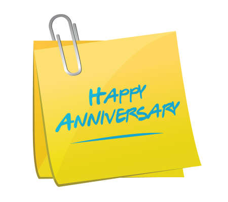 happy anniversary memo post illustration design over a white background