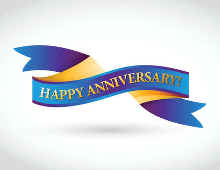 multicolor happy anniversary ribbon illustration design over a white background Vettoriali