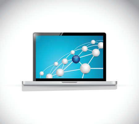 コンピューター上の球リンク ネットワーク接続。白色の背景上のイラスト デザイン