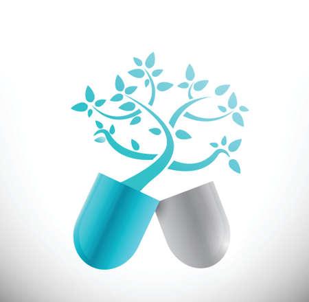 ブルー医療ツリー ピル イラスト デザイン、白い背景の上