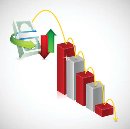 sales chart: falling money prices. business graph illustration design over a white background