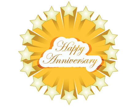 happy anniversary stars seal illustration design over a white background