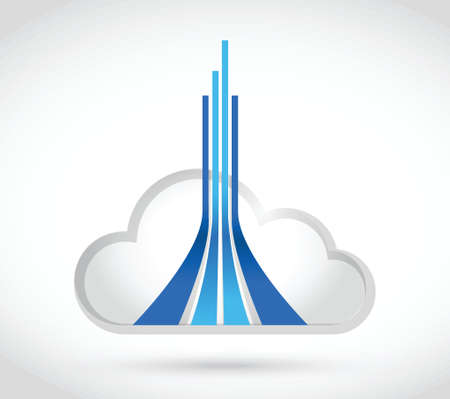 fiber optic cable: cloud computing destination lines illustration design over a white background