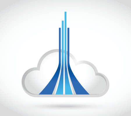 fibra óptica: nube de diseño de líneas de destino computing ilustración sobre un fondo blanco