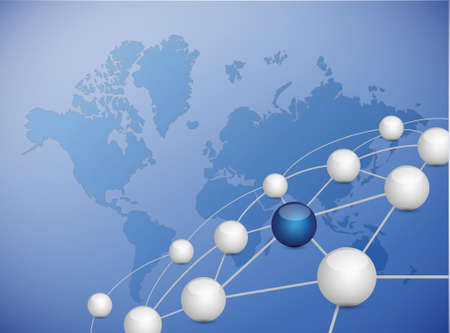 spheres link network connection illustration design over a world map background